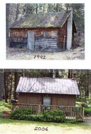 Cabin A in 1992 and in 2006