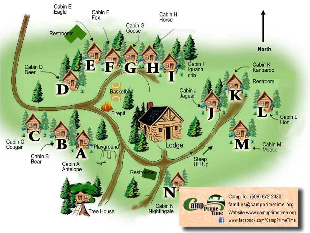 Camping Washington State Map.Camp Information Location Camp Prime Time Washington State